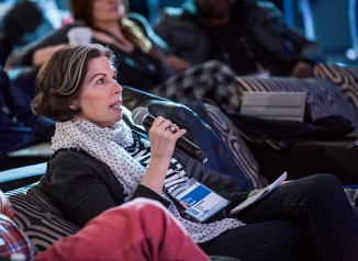 Gina Barnett advises a speaker during TED2014. Below, her best last-minute public speaking tips. Photo: Ryan Lash/TED